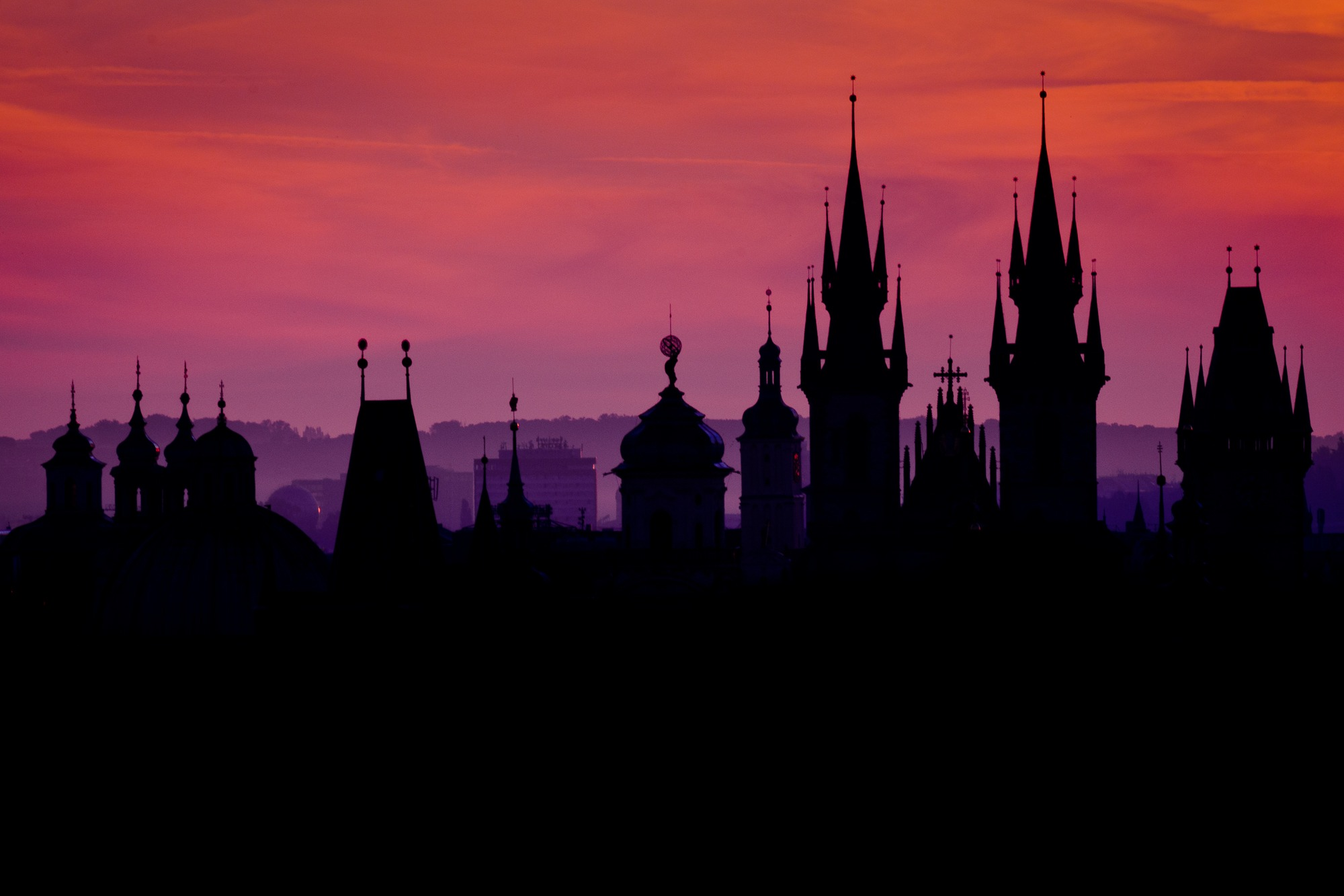 prague towers 100 czech republic silhouttes